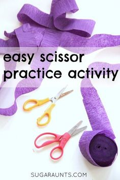 Practice scissor skills with a roll of crepe paper for an easy scissor activity.
