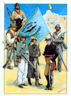 First Company of Volunteers - Texas Militia - Texas War for Independence Mexican Army, Mexican American War, Early American, American History, Native American Models, Texas Revolution, Texas History, Historical Art, Le Far West