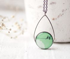 Mint Birds on Wire necklace  Pastel jewelry  by BeautySpot on Etsy, $24.00