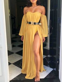Shop Off Shoulder Lantern Sleeve High Slit Maxi Dress right now, get great deals at Joyshoetique. Get Inspiration & me for Creative Colorful Fashion Pattern That Will Keep You Positive Today & Everyday! Short Beach Dresses, Sexy Dresses, Evening Dresses, Fashion Dresses, Prom Dresses, Summer Dresses, Strapless Dress, Maxi Dress With Sleeves, Pattern Fashion
