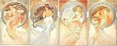 The Four Arts by Alphonse Mucha  (dance, music, painting, and poetry)