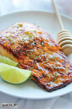 Honey Glazed Salmon - The easiest, most flavorful salmon you will ever make. And that browned butter lime sauce is to die for! The easiest, most flavorful salmon you will ever make. And that browned butter lime sauce is to die for! Baked Salmon Recipes, Fish Recipes, Seafood Recipes, Dinner Recipes, Cooking Recipes, Healthy Recipes, Dinner Ideas, Microwave Recipes, Salmon Dishes