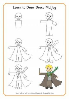 Learn to draw Draco Malfoy, Slytherin student at Hogwarts, with our step by step drawing tutorial. -- Activity Village is a Small Publishing website.