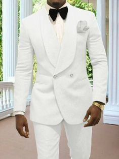 White/Ivory Double Breasted Groom Formal Tuxedos for Wedding Prom Party Men Suit White Tuxedo Wedding, Wedding Tux, Formal Tuxedo, Wedding Suits For Groom, Formal Suits, Mens Fashion Suits, Mens Suits, Dress Suits For Men, Designer Suits For Men