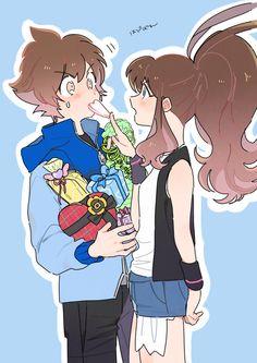 Pokemon Hilda, Pokemon Oc, Black Pokemon, Pokemon Ships, Pokemon Games, Pokemon Couples, Anime Couples, Pokemon Adventures Manga, Neon Evangelion