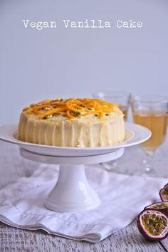 vegan vanilla cake - with passionfruit and mango - not quite nigella