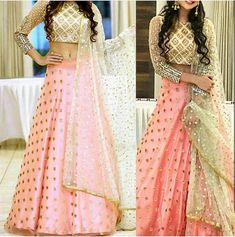 A beautiful lehenga with mirror embroidered top and pink bottom. For more information on this outfit you can email us at… Indian Bridal Lehenga, Red Lehenga, Indian Gowns, Indian Attire, Indian Ethnic Wear, Choli Designs, Lehenga Designs, Indian Bridal Outfits, Indian Wedding Outfits