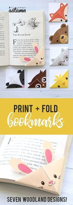 Seven different woodland animal origami bookmark template… Cute folded bookmarks! Seven different woodland animal origami bookmark templates. Just print, cut, and fold. How to make a corner bookmark. Origami Design, Origami Diy, Origami Simple, Origami Templates, Useful Origami, Origami Paper, Diy Paper, Paper Crafting, Origami Ideas