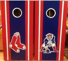 Boston Red Sox and New England Patriots Custom Made Corn hole Boards - These Cornhole boards are handcrafted, hand painted and custom made for each of our customers and meet the Cornhole Association specifications. Free set of cornhole bags are also provided for $152.99. They make great gifts for anyone for any occasion! We love custom orders and will make your team, theme or wedding. Contact us at www.fscustomcraft...