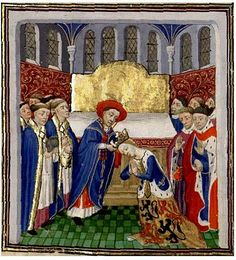 "The coronation of Philippa of Hainault, from Jean Froissart's ""Chronicles"", 15th century."