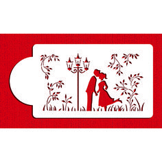 Kissing Couple Silhouette Stencil by Designer Stencils Cake Side Stencils