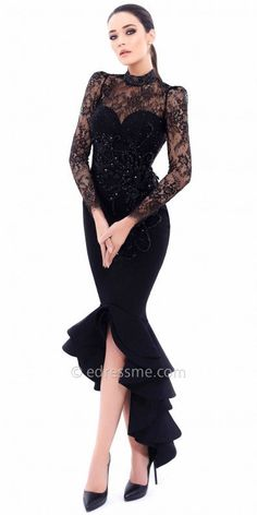 Leave the crowd in awe when you make your way to the dance floor in this Sandra Evening Dress by Tarik Ediz. This must have style features a high collar neckline with lace long sleeves. This form fitting silhouette dress also includes stunning beading on the bodice with floral applique embellishments and a ruffled high-low hemline for added flare. #edressme