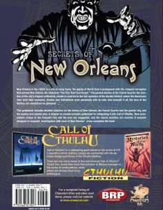 Secrets of New Orleans: A 1920s Sourcebook to the Crescent City (Call of Cthulhu roleplaying) by Fred Van Lente, Janice Sellers, Scott Baxa and Earl Geier (Sep 21, 2009) | Book cover and interior art for Call of Cthulhu Roleplaying Game - CoC, Basic Role-Playing System, BRP, The Card Game, TCG, Living Card Game, Miskatonic, H. P. Lovecraft, antasy, horror, RPG, Chaosium Inc. | Create your own roleplaying game books w/ RPG Bard: www.rpgbard.com | Not Trusty Sword art: click artwork for source