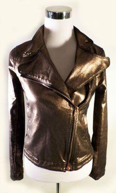 Womens Size XS 7 For All Mankind Bronze Copper Liquid Metallic Moto Style Jacket