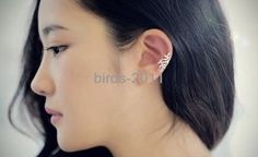 925-pure-silver-earrings-olive-leaf-design-Ear-Cuff-Wrap-no-pierced-Clip-Ring $8.83