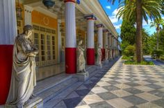 """Achillion Paleokastritsa Corfu Private Tour First stop is Achilleion Palace, built by the Empress Elisabeth """"Sissy"""" of Austria in 1891, and later owned by Kaiser Wilhelm II of Germany. You will visit the museum, as well as its beautiful gardens with spectacular views. The palace was designed with the mythical hero Achilles as its central theme. We continue north to beautiful Paleokastritsa described as the jewel of Corfu, this Arcadian, red-roofed town never fails ..."""