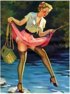 Arnold Armitage Pin Up Girl Pin Up Vintage, Pin Up Retro, Retro Vintage, Vintage Graphic, Vintage Ladies, Pinup Art, Fishing Girls, Gone Fishing, Fishing Stuff