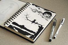 рисунок ручкой, графика, силуэт, кот, животное, дерево, пейзаж, sketch