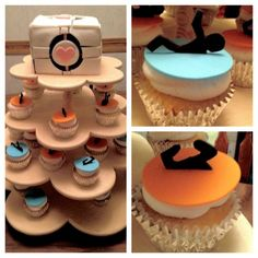 Neat idea! Instead of doing the top companion cube cake, we'll just do cupcakes. Some cupcakes can be the blue and orange portal guy, and maybe some can have a flat companion cube instead of the whole thing.