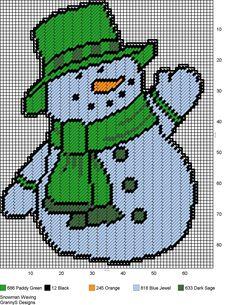 SNOWMAN WAVING by GrannyS Designs -- WALL HANGING