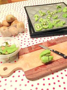 Dried kiwi is way better than sweet-and-sour conventional candy- no stomachache afterward, no artificial dyes, and it's easy to make yourself! To dry kiwi Rinse kiwi under running water Peel with a paring knife Cut oncelengthwise Cut into 4 sliceswidth-wise, making 8 half moons per kiwi Place on dehydrator tray (this is the dehydrator I...
