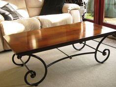 Wrought Iron Coffee Table with Wooden Top