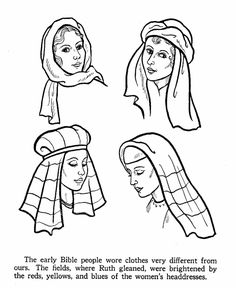 Bible Life and Times coloring pages - women's headdress