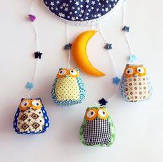 Owl nurcery mobile/ owls in the night by Machookahandmade on Etsy