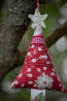Fabric Christmas Tree, Red, White, Cream Ribbon, Patchwork, Crochet Star Christmas Tree Decoration, Spotty, Vintage, Floral by HeartmadeSouthAfrica on Etsy Fabric Christmas Trees, Christmas Tree Decorations, Christmas Ornaments, Holiday Decor, Crochet Stars, Vintage Floral, Red And White, Ribbon, Magic