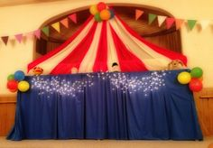 Plastic tablecloths make a great circus tent. Perfect for a circus or carnival themed birthday party. Circus Carnival Party, Circus Theme Party, Carnival Birthday Parties, Circus Birthday, Birthday Fun, Birthday Party Themes, Circus Tents, Birthday Ideas, Fall Carnival