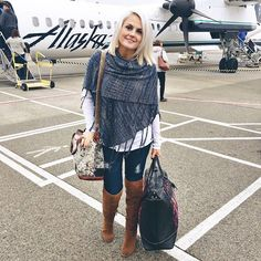 LuLaRoe Mimi over white long sleeve top, denim and over the knee boots