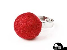 Valentine's Day gifts felt ring red  by  LadyJimFeltJewelry on Etsy Wool Necklace red felt ring