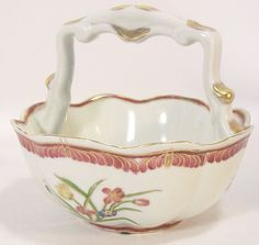 Fitz & Floyd Bowl with Handle Pink and Blue Flowers with Gold Trim
