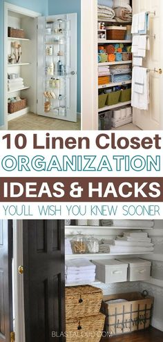 Easily declutter and organize your linen closet with these brilliant DIY linen closet organization ideas. With these great organization hacks, your linen closet will never be messy again! Organisation Hacks, Linen Closet Organization, Small Space Organization, Closet Storage, Organizing Tips, Storage Bins, Bathroom Organization, Storage Ideas, Shelving Ideas
