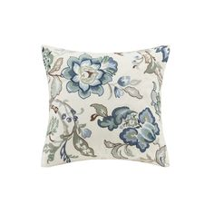 The Harbor House Luciana Bedding Collection creates a calm and serene look. The square pillow features a blue and grey embroidered floral pattern that adds color to the bedding ensemble.