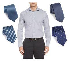 """Blue shirt + gray suit"" by stylev ❤ liked on Polyvore featuring ETON, Gitman Bros., Robert Talbott, Armani Collezioni, BOSS Hugo Boss, men's fashion and menswear"