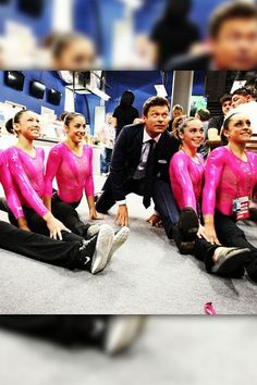 "Split Screen    Team USA's fab five gymnasts challenge Ryan Seacrest to attempt a split. Ryan tweeted: ""Doing the splits is easy, standing back up...not so much."""