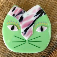 New to GlassCat on Etsy: Fused Glass Cat Plate Fused Glass Wall Cat African Inspired Pink and Green Cat Fused Glass Wall Art Fused Glass Cat (35.00 USD)