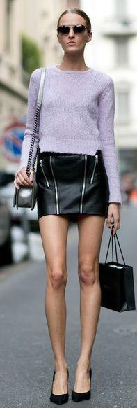 Lavender Knit Crop Sweater #Crop Sweaters