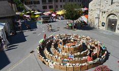 Books in the round in St.-Pierre-de-Clages, Switzerland.