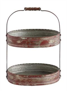 Decorative Tin Oval 2-Tier Tray with Wood Handle