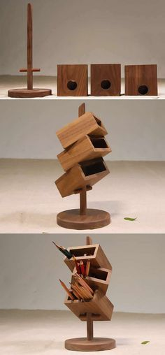 3 Tier Wooden Office Desk Organizer