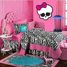 Zebra bedroom decor, Bedroom decor might lack texture due to the use of modest calm colors. Adding zebra bedroom decor can r Pink Zebra Bedrooms, Zebra Print Bedroom, Zebra Bedding, Teen Bedding, Teen Girl Bedrooms, Teen Bedroom, Dream Bedroom, Bedroom Decor, Bedroom Ideas