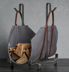 """Log Carrier Bag Rack   Rejuvenation Width 12.5""""Height 25""""Depth 24"""""""