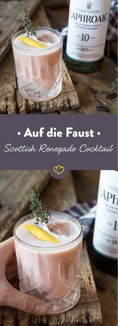 Wenn du auf der Suche nach einem etwas anderen Scotch Sour bist, probiere doch den Scottish Renegade mit Laphroaig 10 und Portwein.