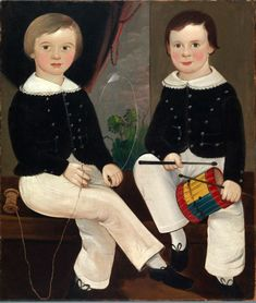 William Matthew Prior (American, Isaac Josiah and William Mulford Hand, ca. Oil on canvas mounted on board. Folk art portrait of two boys. Primitive Painting, Primitive Folk Art, Simple Oil Painting, Art Abstrait, Naive Art, American Women, Early American, American Artists, Vintage Children