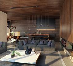 salon avec lambris en bois sur les murs et le plafond