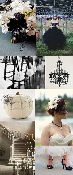 I don't necessarily like everything in these pics, but a Halloween wedding sounds pretty cool, never thought about that before! All Hallow's Eve - Black and White Wedding Inspiration, beautiful!