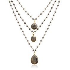 14k Yellow Gold Over Sterling Silver 138ct Pyrite Triple Strand Beaded Necklace - 26 Inches