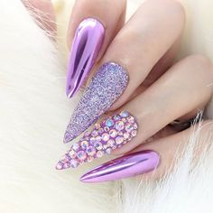 Mirror Lilac Chrome Glitter Stiletto Nails with Swarovski Crystals Our new Lilac Chrome goes so well Burgundy Nail Designs, Burgundy Nails, Purple Nails, Lilac Nails Design, Pastel Nails, Lilac Nails With Glitter, Blue Chrome Nails, White Nails, Glitter Nails